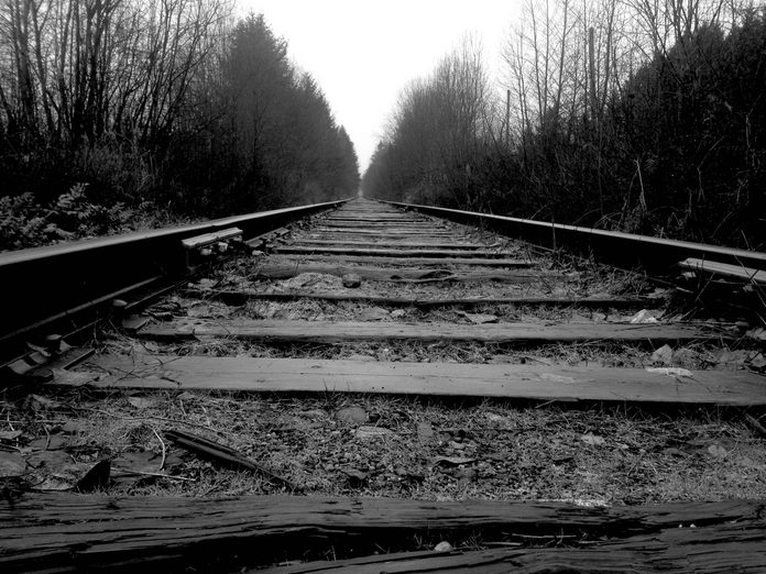 Low angle of railroad