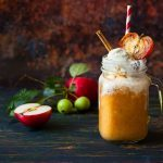 Apple cider with caramel sauce