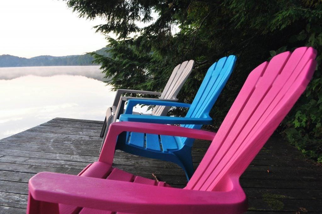 Deck chairs at Hudson Lake, Ontario