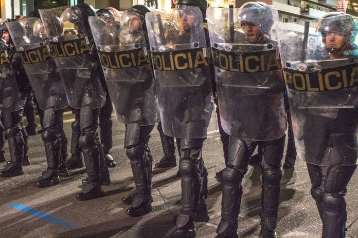 Police officers in Sao Paolo, Brazil