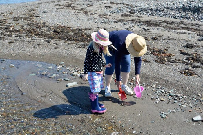 Collecting sea shells at the cottage