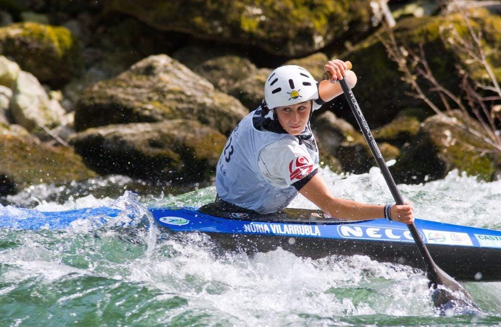 Canoe slalom racer in river