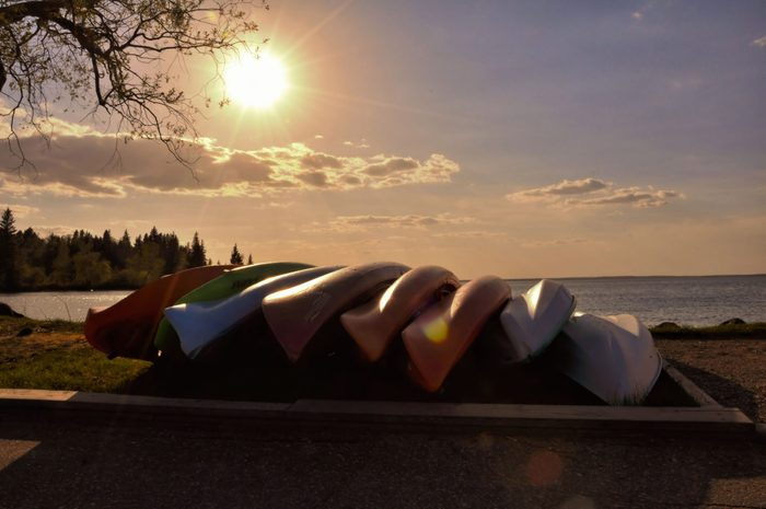 Row of kayaks by the lake