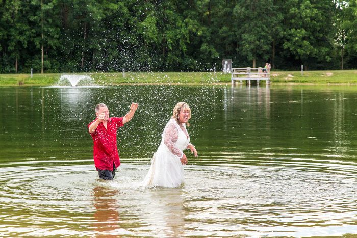 New married couple in lake