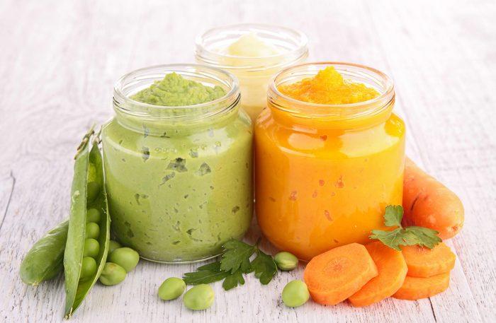 Pea and carrot puree