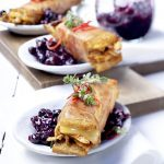 Beer-braise duck sandwiches with wild blueberry dressing