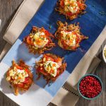Lynn Crawford's Beet Cured Trout Rosti with Mimosa Eggs and Trout Roe