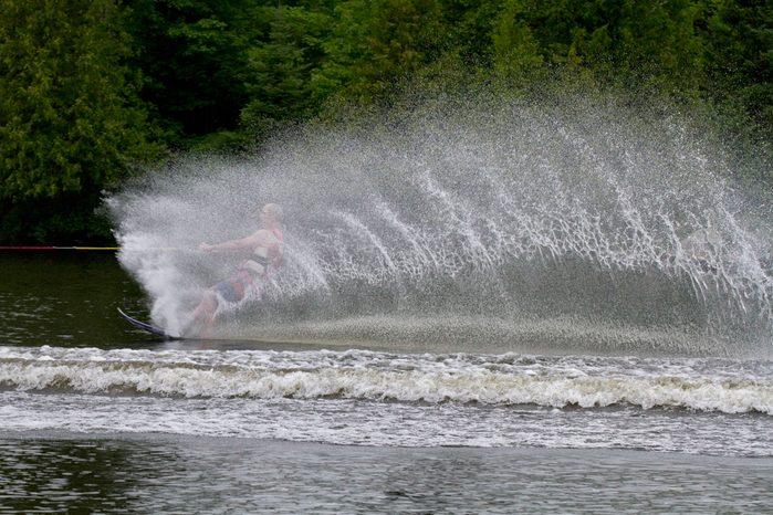 Man jet skiing on Lake Cecebe
