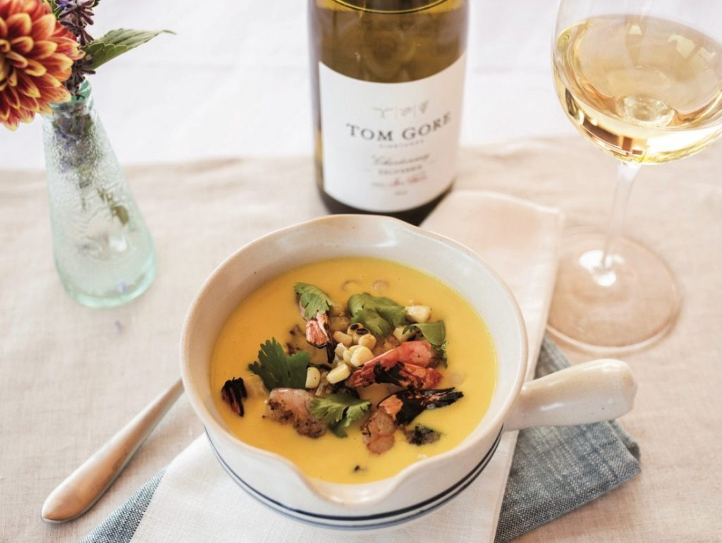 Seafood chowder with Tom Gore Vineyards wine