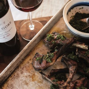 Green Garlic Marinated Lamb Chops with Mint Chimichurri