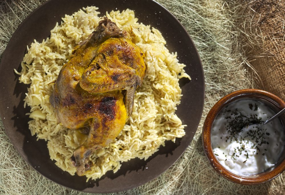 Indian-style grilled chicken with rice