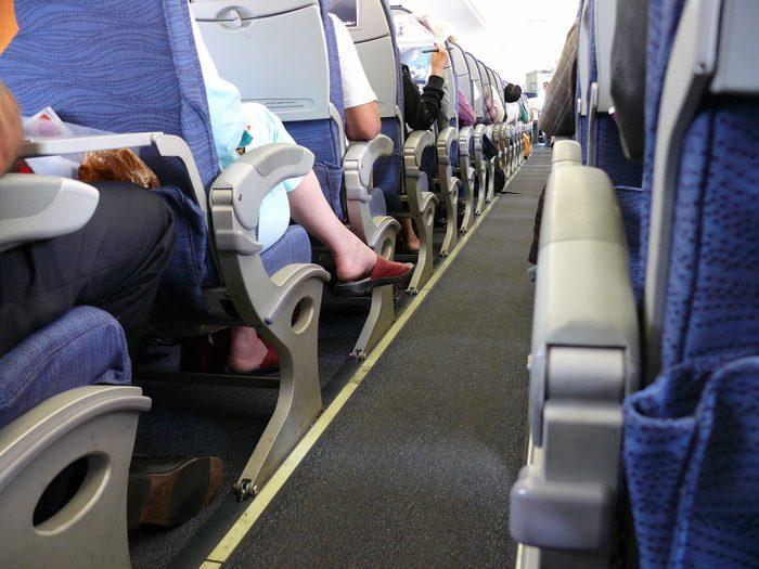 Cramped airplane seating