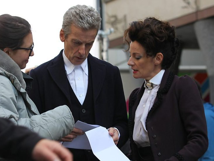 Michelle Gomez rehearsing in Doctor Who