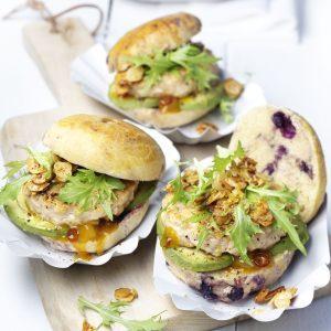 Chicken Sliders on Wild Blueberry Brioche Buns