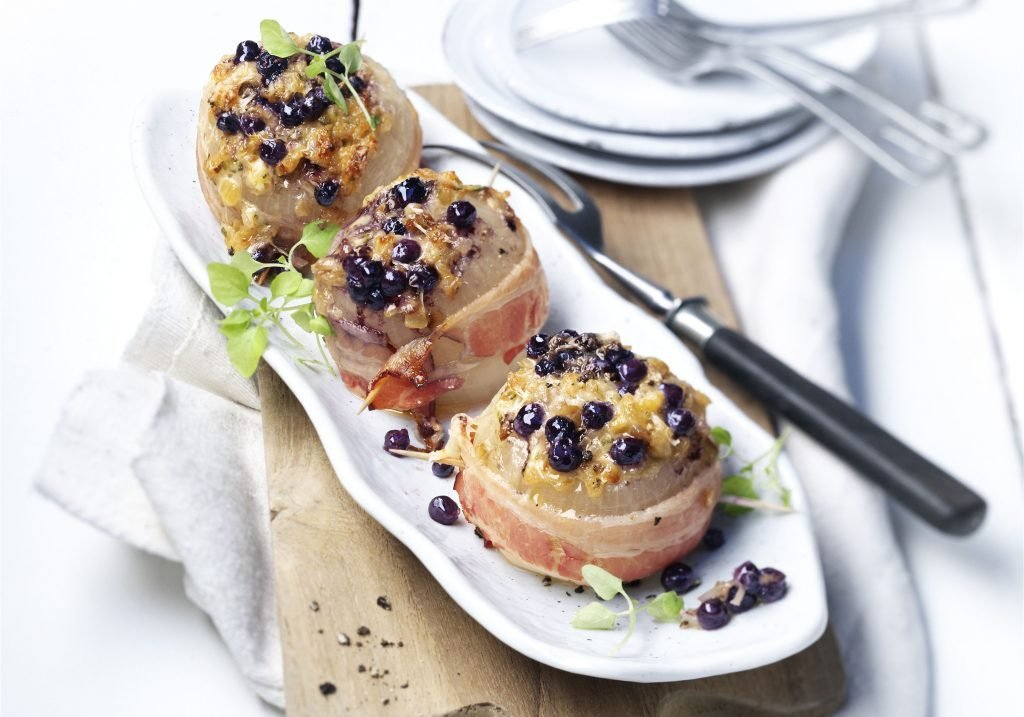 Bacon-Wrapped Onions with Wild Blueberry