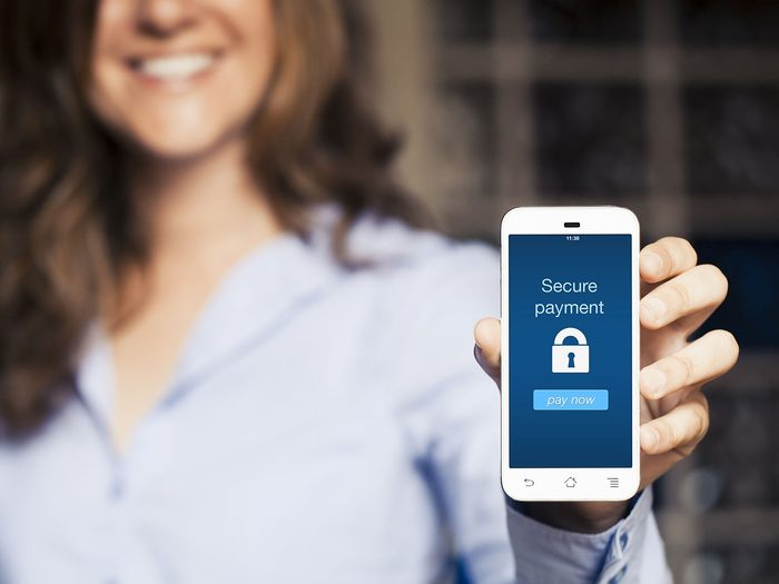 Encrypted online shopping on a mobile phone