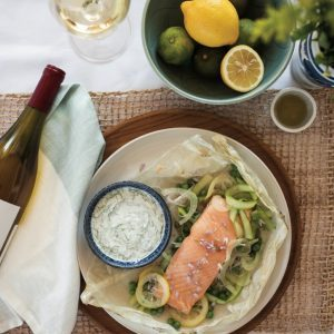 Parchment Baked Salmon with Fennel Yogurt Sauce
