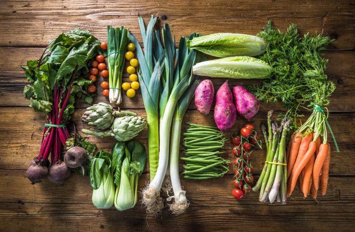 Healthy vegetables on countertop