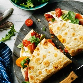 Roasted Tomato, Arugula and Prosciutto Piadina Sandwich