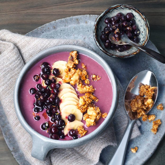 Wild Blueberry Smoothie Bowl with Walnut Crunch