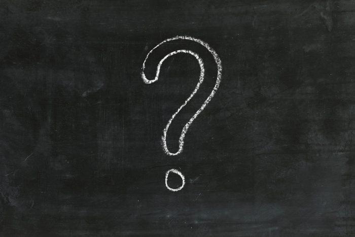 word power test - Question mark on chalk board