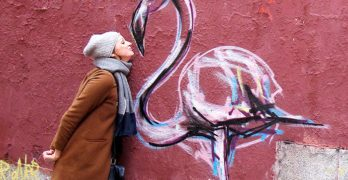 Author Lia Grainger goes nose to nose with some street art.