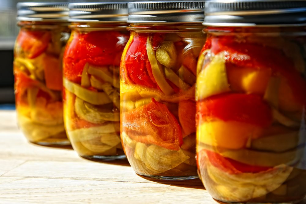 Preserved peppers in jars