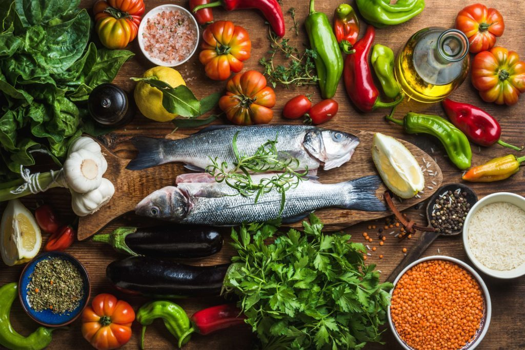Diverse diet of healthy foods