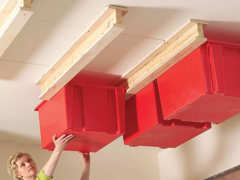 Hang storage bins from garage ceiling