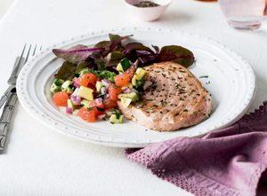 Pan-Fried Swordfish with Grapefruit and Avocado Salsa