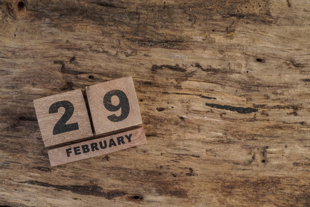 February 29 on wooden block calendar