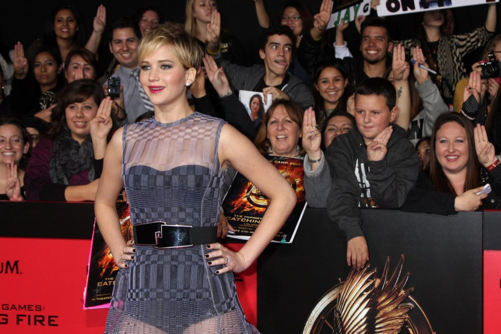 Actress Jennifer Lawrence at movie premiere