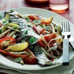 Roasted Trout on Rainbow Vegetables