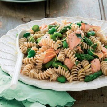 Salmon, Broad Bean and Asparagus Fusilli