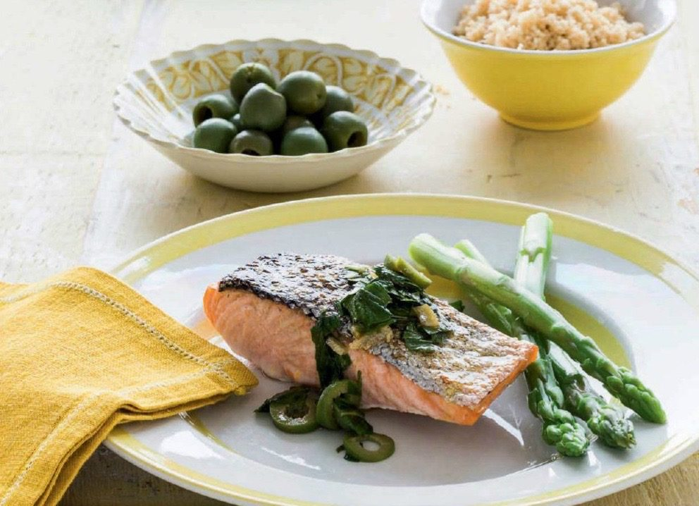 Salmon with Preserved Lemons and Green Olives