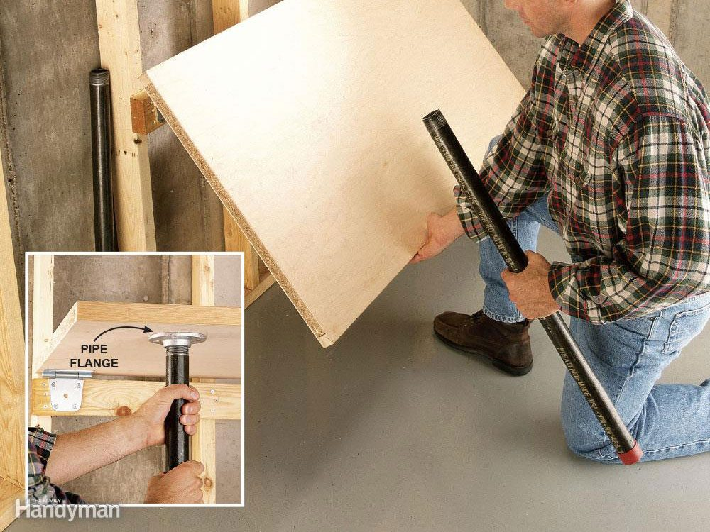 Add a space saving garage workbench