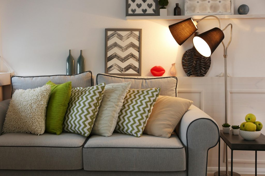 Living room with couch and throw pillows
