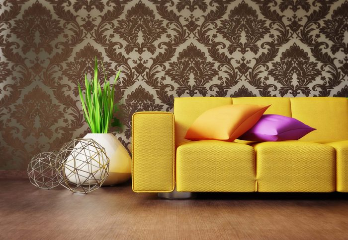 Yellow couch in living room
