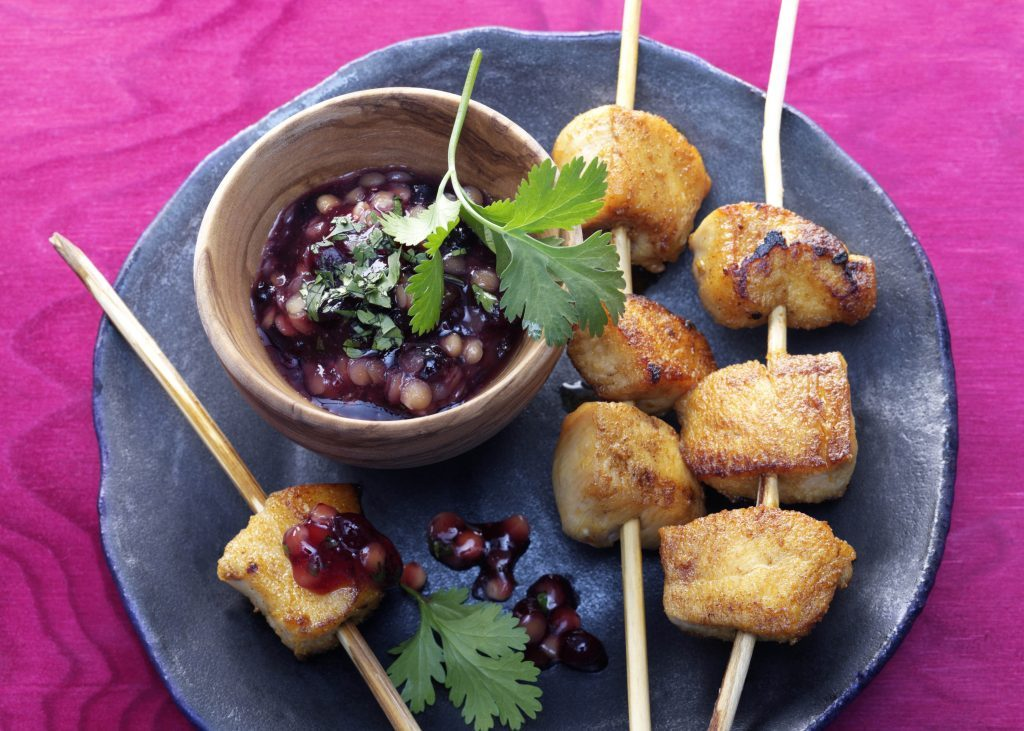 Tandoori Chicken Skewers with Wild Blueberry Fig Sauce