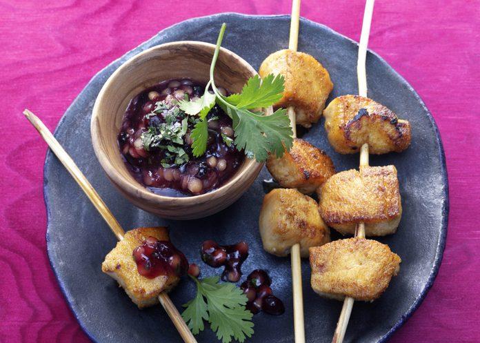 Tandoori Chicken Skewers with Wild Blueberry Fig Sauce