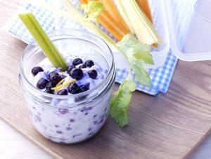Veggie Sticks with Ricotta Wild Blueberry Dip
