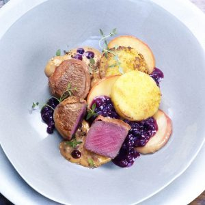 Venison Medallions with Sautéed Apple Slices and Wild Blueberry Sauce