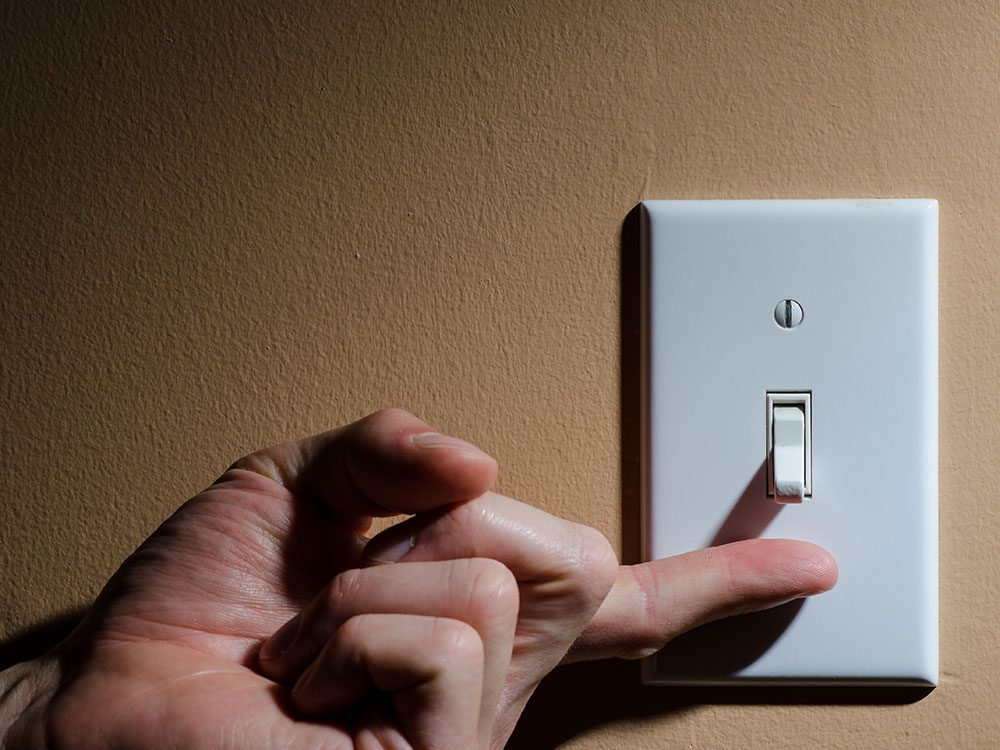 Turning on light switch