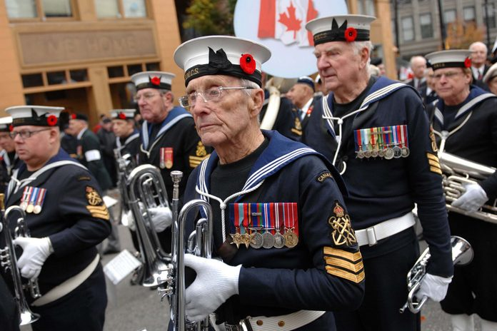 Canadian veterans during Remembrance Day parade