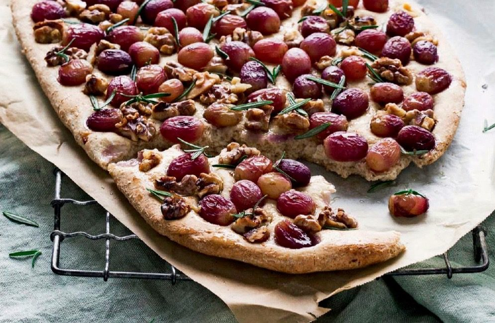 Wholemeal and Walnut Grape Focaccia
