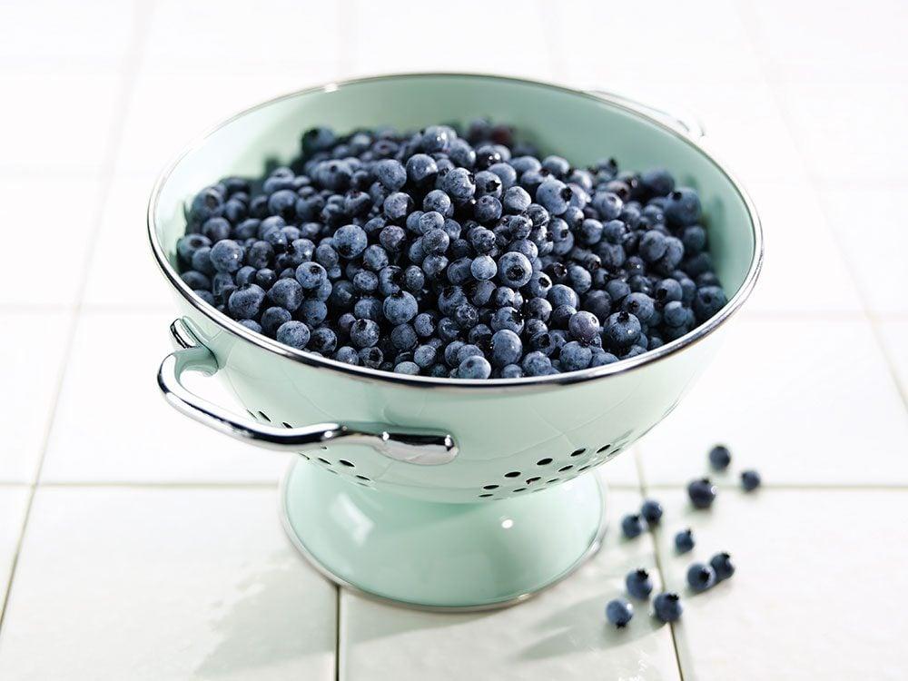 Wild blueberries in colander
