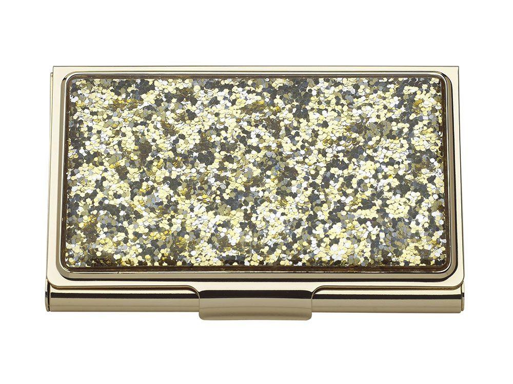 Gold glitter card holder