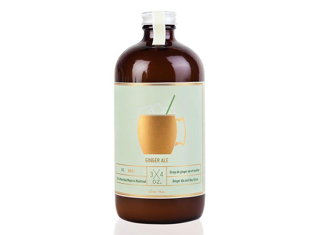 Bottle of ginger ale syrup