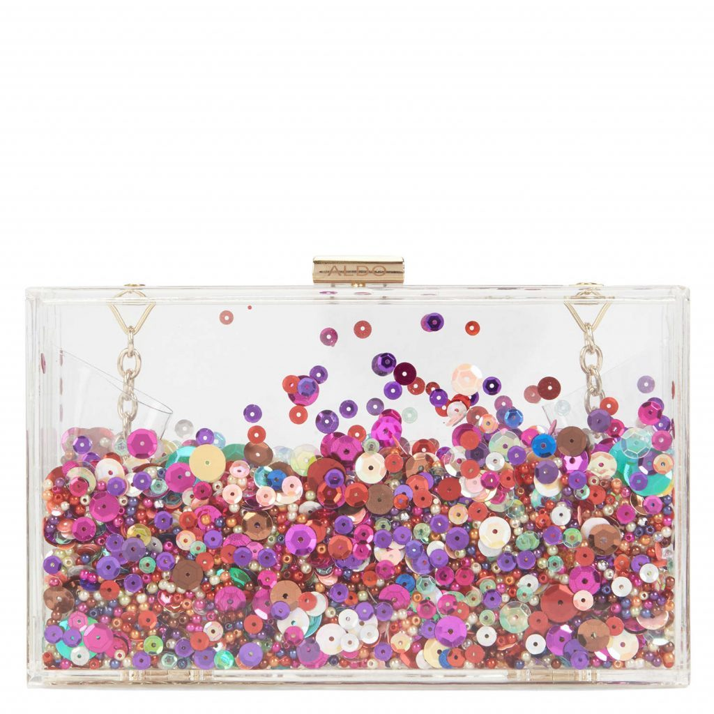 Clear sequin clutch bag