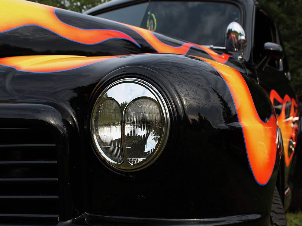 Car with fire racing stripes